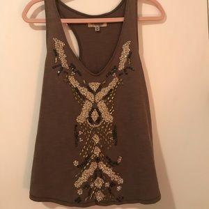 Medium gray sequined and beaded top